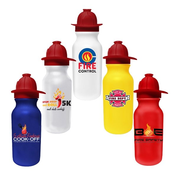 Promotional 20 oz Value Cycle Bottle with Fire Helmet Push n Pull Cap, Full Color Digital