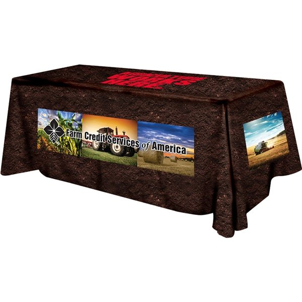 Promotional Polyester Digital Direct Print Table Cover 4 sided, 8 foot