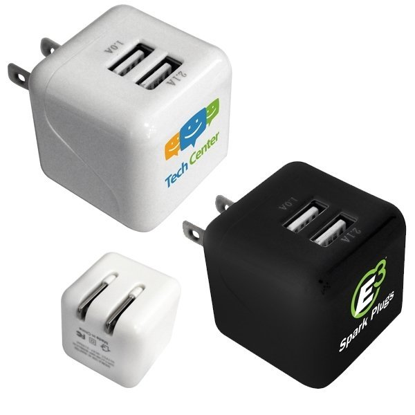 Promotional Double Port Wall Charger, Full Color Digital
