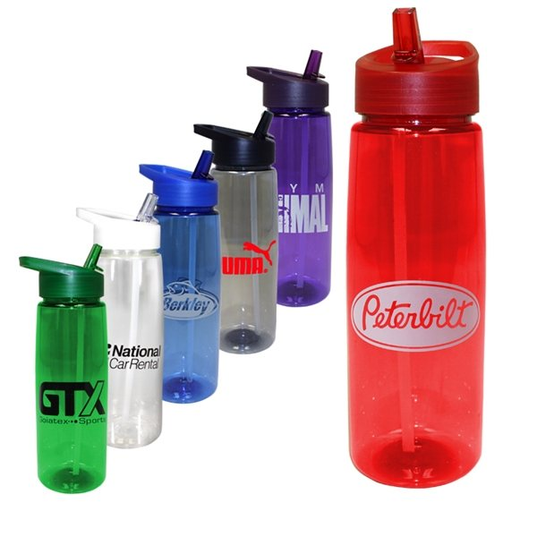 Promotional 30 oz Poly - Saver PET Bottle with Straw Cap