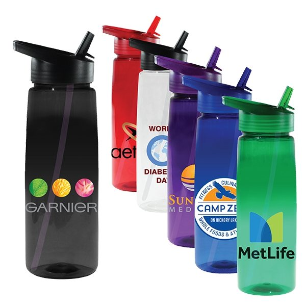 Promotional 30 oz Poly - Saver PET Bottle with Straw Cap, Full Color Digital