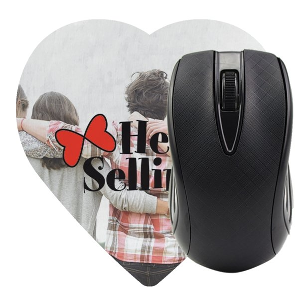 Promotional Heart Shaped Computer Mouse Pad - Dye Sublimated