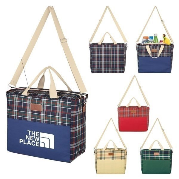 Promotional Tartan Hefty Kooler Tote Bag