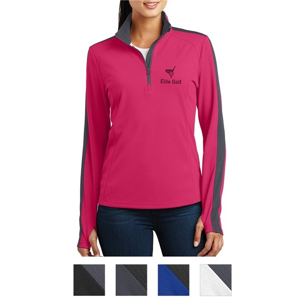 Promotional Sport - Tek(R) Ladies Sport - Wick(R) Textured Colorblock 1/4- Zip Pullover