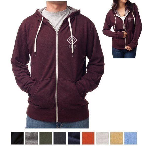 Promotional Independent Trading Company Unisex Heather French Terry Zip Hooded Sweatshirt