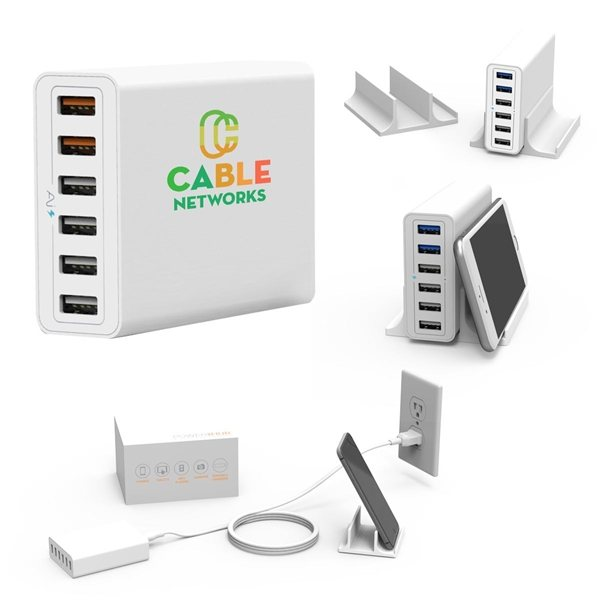 Promotional PowerHub 6- Port USB Wall Charger