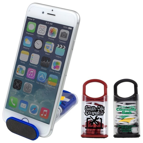 Promotional Excell Earbud Headphones, Phone Cleaner and Phone Stand in Carabiner Case