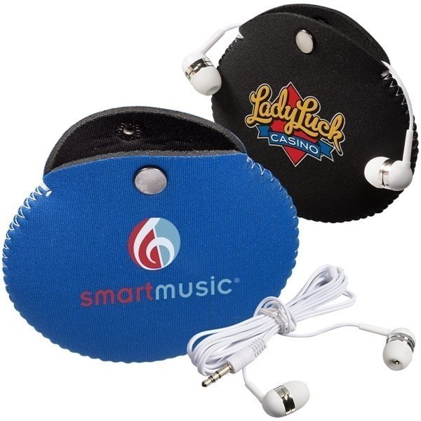 Promotional Neoprene Earbud Pouch Combo with Earbuds