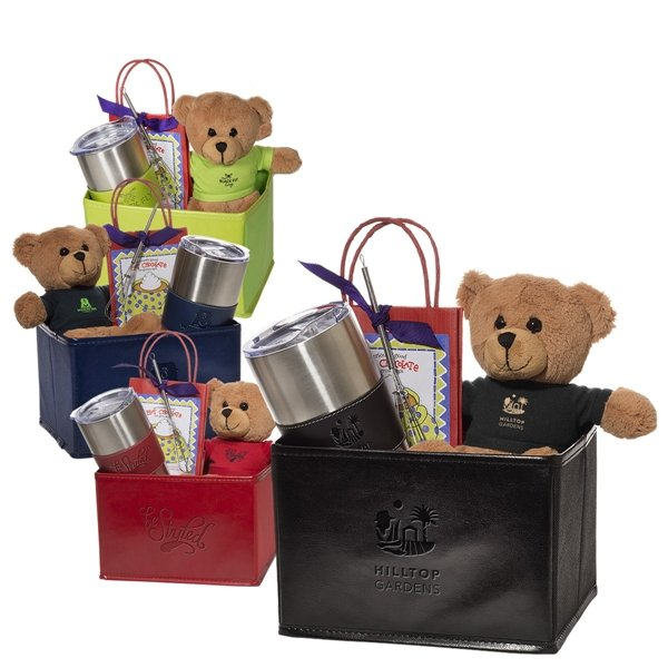 Promotional Tuscany(TM) Vacuum Tumbler w / Teddy Bear and Hot Cocoa Gift Set