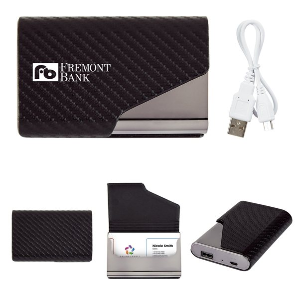 Promotional UL Listed 2- In -1 Zhuse Power Bank With Card Holder