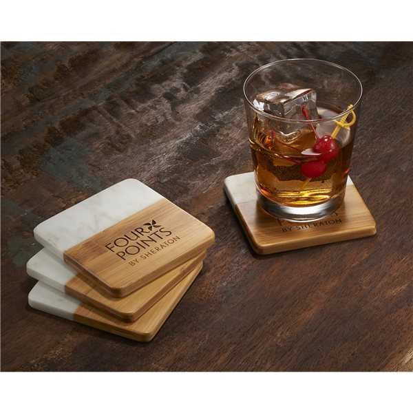 Promotional Marble and Bamboo Coaster Set