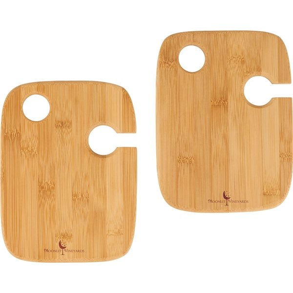 Promotional Bamboo 2- piece Wine Plate Set