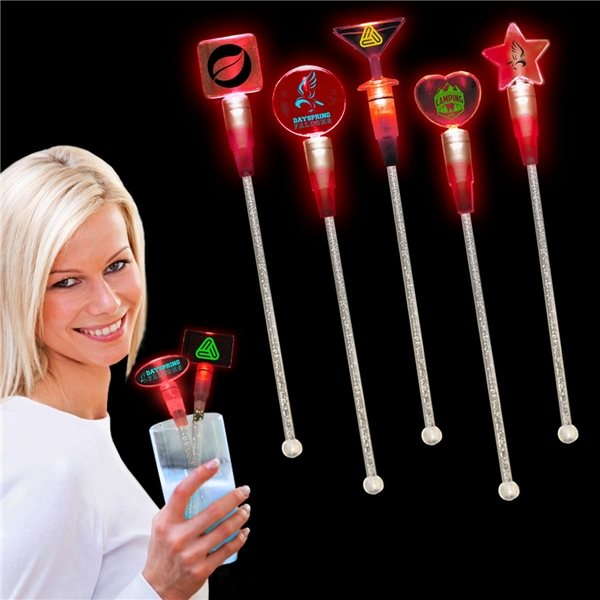 Promotional Light Up Cocktail Stirrers - Red