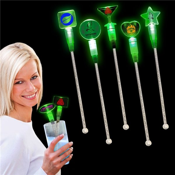 Promotional Light Up Cocktail Stirrers - Green