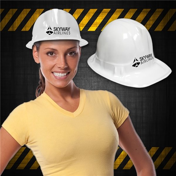 Promotional Novelty Plastic Construction Hats - White