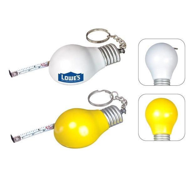 Promotional Light Bulb Measuring Tape Keychain