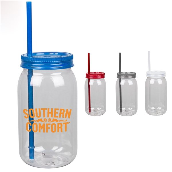 Promotional 25 oz Mason Jar with Straw