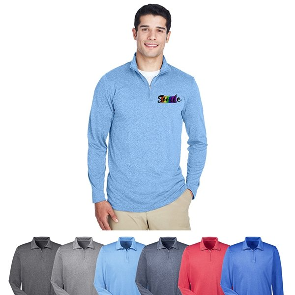 Promotional Ultraclub(R) MenS Cool Dry Heathered Performance Quarter - Zip
