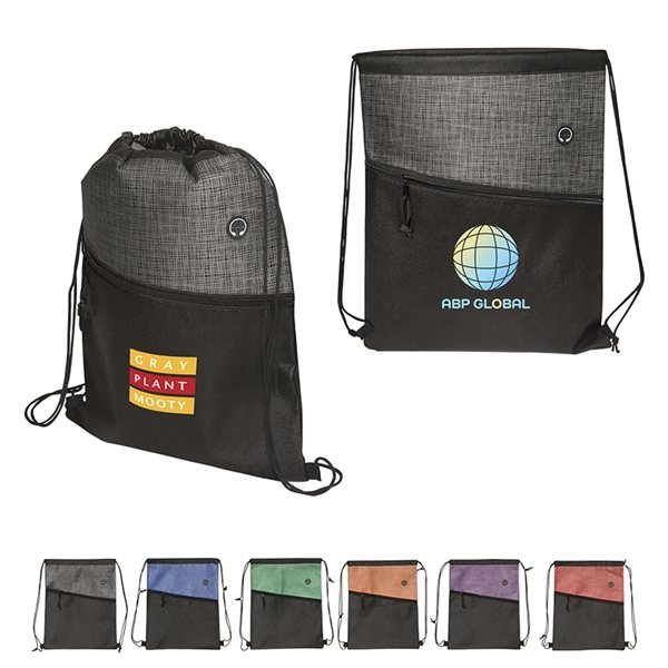 Promotional Tonal Heathered Non - Woven Drawstring Backpack