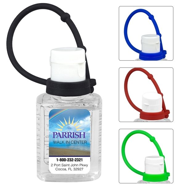 Promotional 0.5 oz Compact Hand Sanitizer Antibacterial Gel in Flip - Top Squeeze Bottle with Colorful Silicone Leash