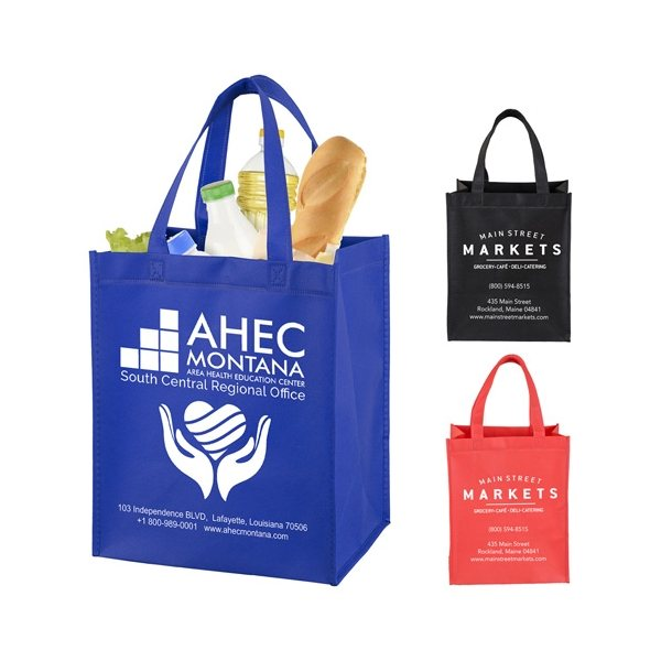 Promotional Full View Junior Large Imprint Grocery Shopping Tote Bag