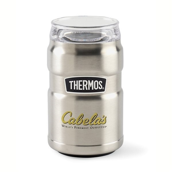 Promotional Thermos(R) Stainless King(TM) Dual Purpose Can Insulator with 360 Drink Lid - 10 oz - Stainless Steel