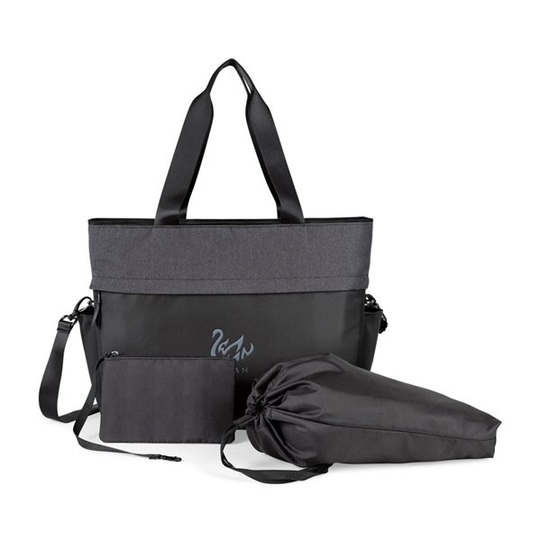 Promotional Life in Motion(TM) All Day Deluxe Computer Tote - Black / Charcoal Heather