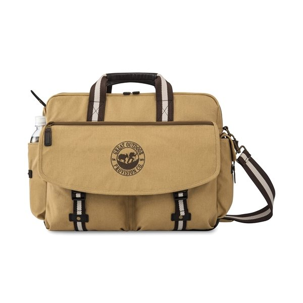 Promotional Heritage Supply(TM) Ridge Cotton Computer Messenger Bag - Dune