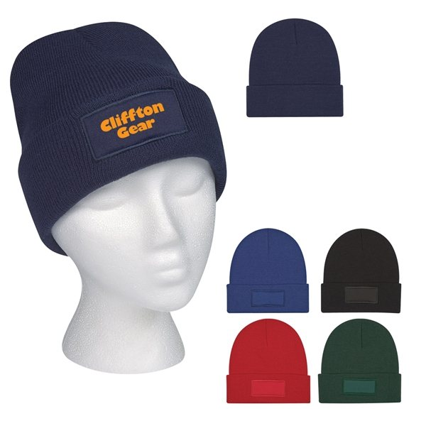 Promotional Patch Knit Beanie With Cuff