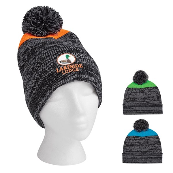Promotional Knit Heathered Pom Beanie With Cuff