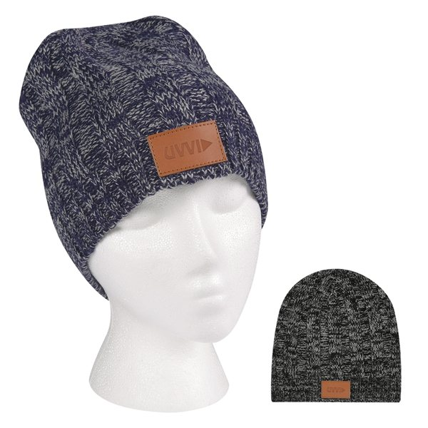 Promotional Knit Beanie With Leather Tag