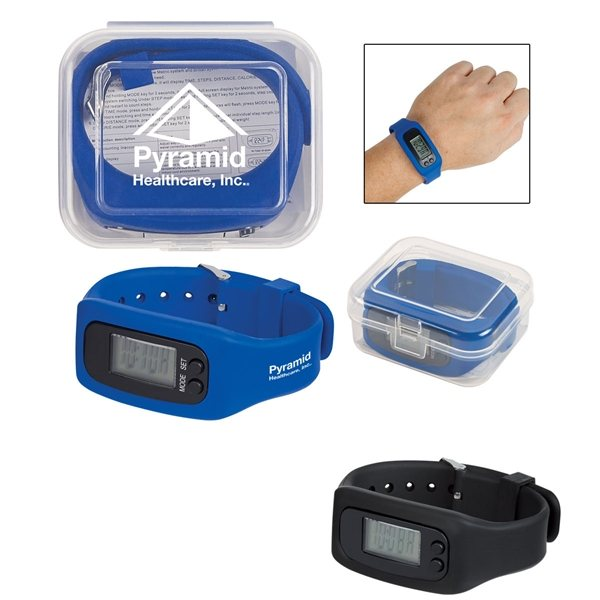 Promotional Digital LCD Pedometer Watch In Case