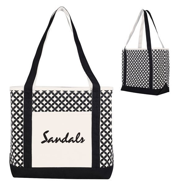 Promotional Curved Diamond Canvas Tote Bag