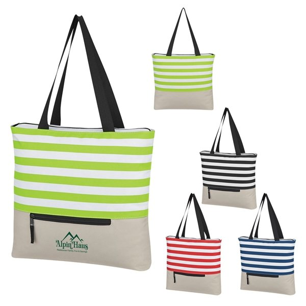 Promotional Broad Stripe Zippered Tote Bag