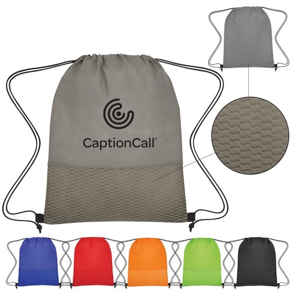 Promotional Non - Woven Wave Design Drawstring Bag