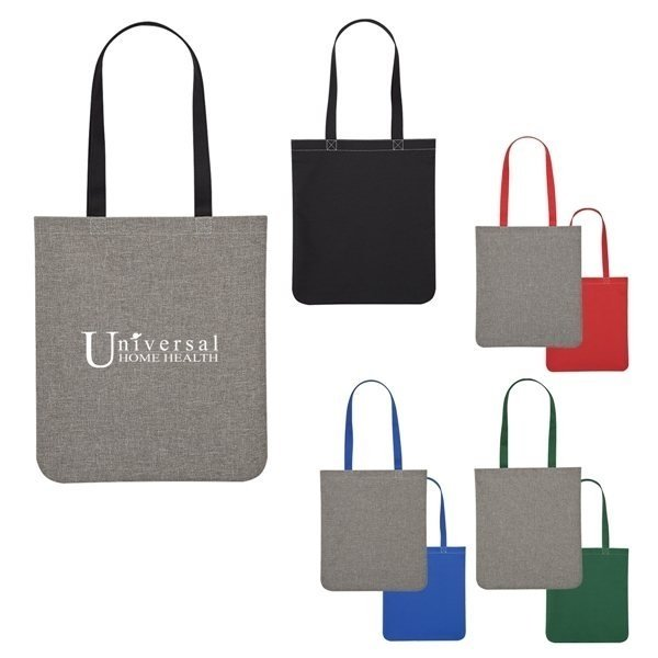 Promotional Heathered Two - Tone Brochure Tote Bag