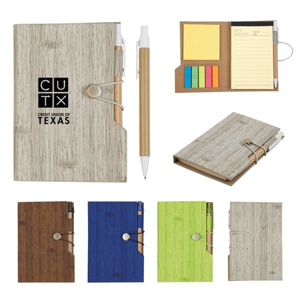 Promotional 4 x 6 Woodgrain Look Notebook With Sticky Notes And Flags