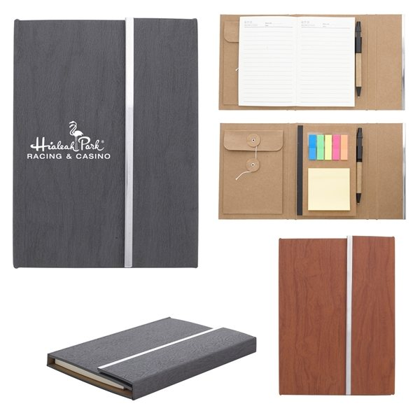 Promotional Woodgrain Padfolio With Sticky Notes And Flags