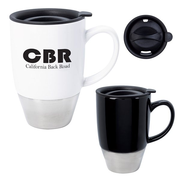 Promotional 13 oz Stainless Steel Dipped Ceramic Mug