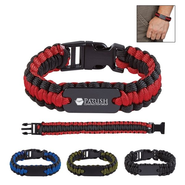 Promotional Paracord Bracelet With Metal Plate