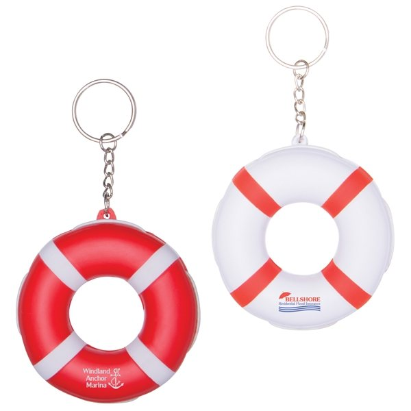 Promotional Floating Lifesaver with Elastic Side Accent Nylon Tow Rope Keytag