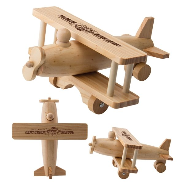 Promotional Wooden Rolling Toy Airplane