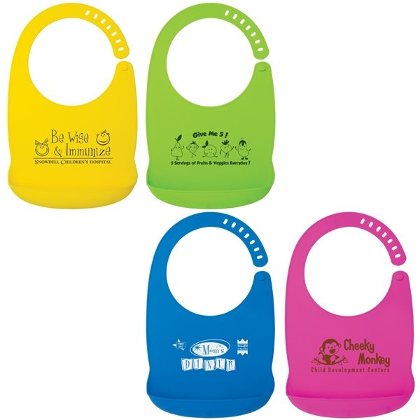 Promotional Silicone Baby Bib with Adjustable Neck Closure