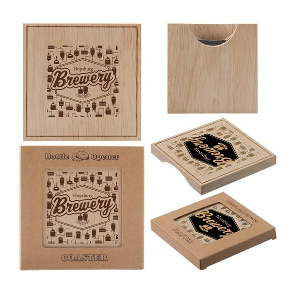 Promotional Wood Bottle Opener Coaster