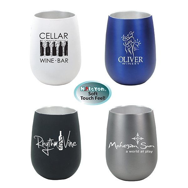 Promotional 12 oz Halcyon(TM) Stainless Steel Wine Glass
