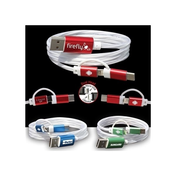 Promotional 3- in -1 EL Lighted Charging Cable