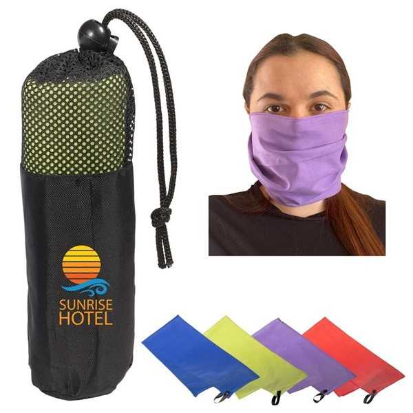 Promotional Microfiber Quick Dry Cooling Towel in Mesh Pouch