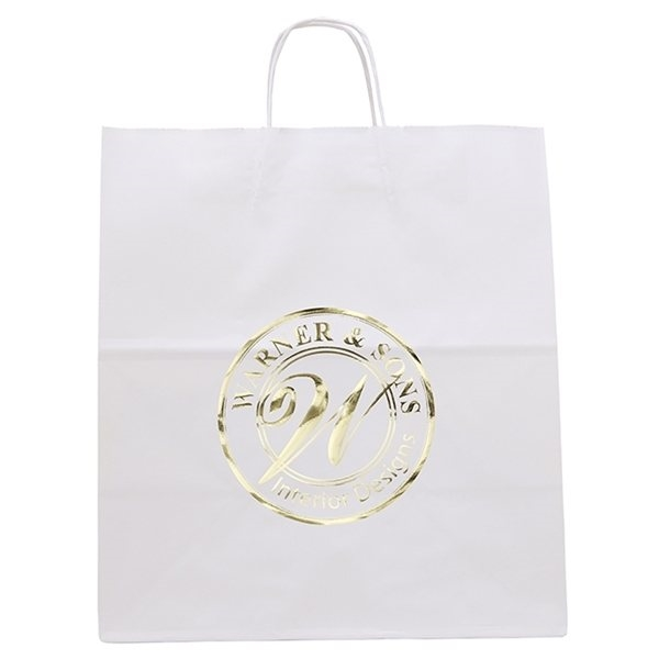 Promotional White Knight Bag with Serrated Cut Top