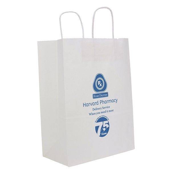 Promotional White Fort Bag with Serrated Cut Top