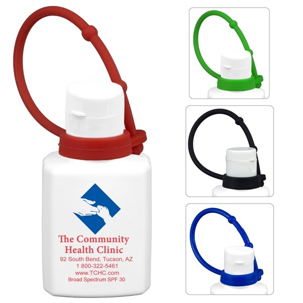 Promotional 0.5 oz Broad Spectrum SPF 30 Sunscreen Lotion In Solid White Flip - Top Squeeze Bottle with Colorful Silicone Leash